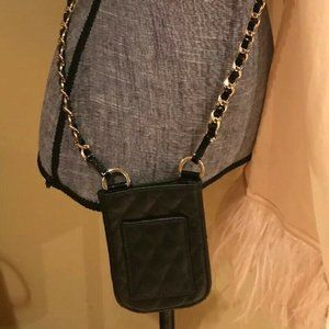 Handbags - Black Quilted Leather Gold Woven Chain Phone Bag